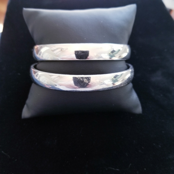 Two Silver Stainless Steel Monet Bangles